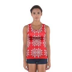 Background For Scrapbooking Or Other Stylized Snowflakes Women s Sport Tank Top
