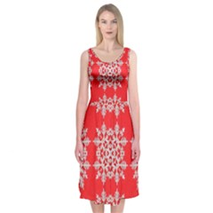 Background For Scrapbooking Or Other Stylized Snowflakes Midi Sleeveless Dress