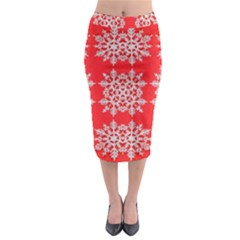 Background For Scrapbooking Or Other Stylized Snowflakes Midi Pencil Skirt