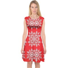 Background For Scrapbooking Or Other Stylized Snowflakes Capsleeve Midi Dress