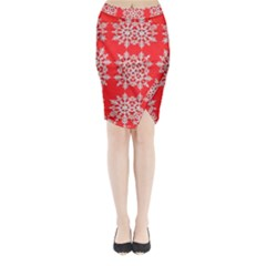 Background For Scrapbooking Or Other Stylized Snowflakes Midi Wrap Pencil Skirt