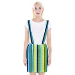 Simple Lines Rainbow Color Blue Green Yellow Black Suspender Skirt