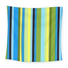 Simple Lines Rainbow Color Blue Green Yellow Black Square Tapestry (large)