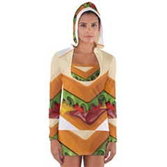 Sandwich Breat Chees Women s Long Sleeve Hooded T Shirt
