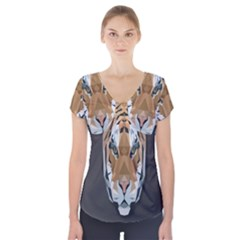 Tiger Face Animals Wild Short Sleeve Front Detail Top