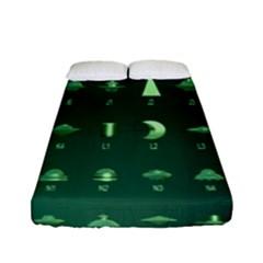 Ufo Alien Green Fitted Sheet (full/ Double Size)
