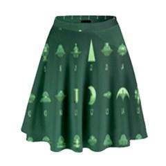 Ufo Alien Green High Waist Skirt