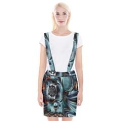 Light Color Floral Grey Suspender Skirt