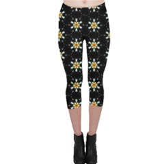 Background For Scrapbooking Or Other With Flower Patterns Capri Leggings