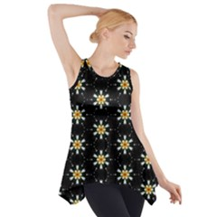 Background For Scrapbooking Or Other With Flower Patterns Side Drop Tank Tunic