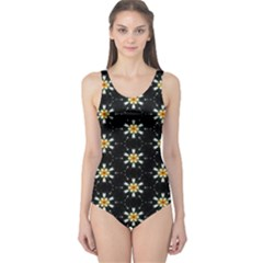 Background For Scrapbooking Or Other With Flower Patterns One Piece Swimsuit