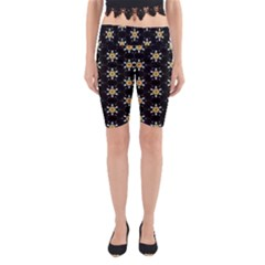Background For Scrapbooking Or Other With Flower Patterns Yoga Cropped Leggings