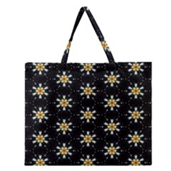 Background For Scrapbooking Or Other With Flower Patterns Zipper Large Tote Bag