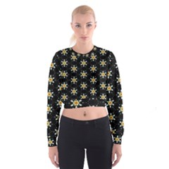 Background For Scrapbooking Or Other With Flower Patterns Women s Cropped Sweatshirt