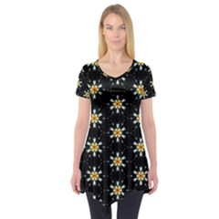 Background For Scrapbooking Or Other With Flower Patterns Short Sleeve Tunic