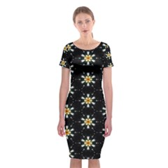 Background For Scrapbooking Or Other With Flower Patterns Classic Short Sleeve Midi Dress