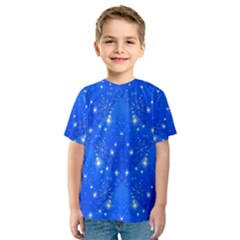 Background For Scrapbooking Or Other With Snowflakes Patterns Kids  Sport Mesh Tee