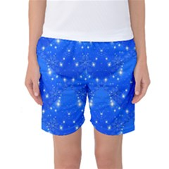 Background For Scrapbooking Or Other With Snowflakes Patterns Women s Basketball Shorts