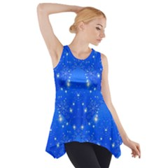 Background For Scrapbooking Or Other With Snowflakes Patterns Side Drop Tank Tunic