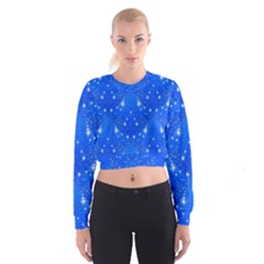 Background For Scrapbooking Or Other With Snowflakes Patterns Women s Cropped Sweatshirt