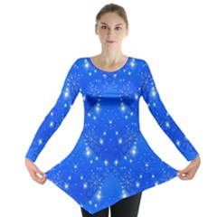 Background For Scrapbooking Or Other With Snowflakes Patterns Long Sleeve Tunic