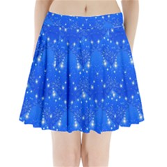 Background For Scrapbooking Or Other With Snowflakes Patterns Pleated Mini Skirt