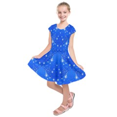 Background For Scrapbooking Or Other With Snowflakes Patterns Kids  Short Sleeve Dress