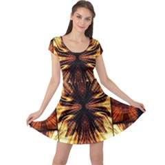 Background Pattern Cap Sleeve Dresses