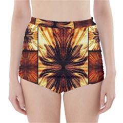 Background Pattern High Waisted Bikini Bottoms
