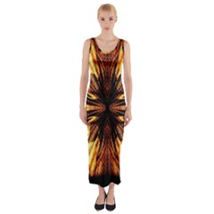 Background Pattern Fitted Maxi Dress