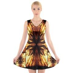 Background Pattern V Neck Sleeveless Skater Dress