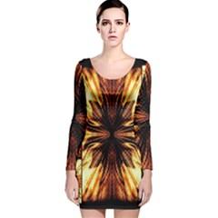 Background Pattern Long Sleeve Velvet Bodycon Dress