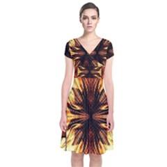 Background Pattern Short Sleeve Front Wrap Dress