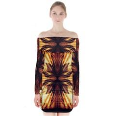 Background Pattern Long Sleeve Off Shoulder Dress