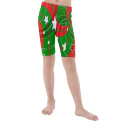 Background Abstract Christmas Kids  Mid Length Swim Shorts