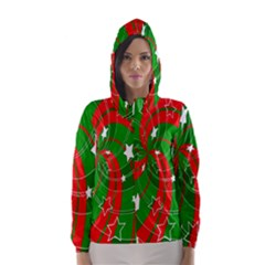 Background Abstract Christmas Hooded Wind Breaker (women)