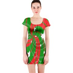 Background Abstract Christmas Short Sleeve Bodycon Dress