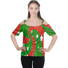 Background Abstract Christmas Women s Cutout Shoulder Tee