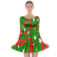 Background Abstract Christmas Long Sleeve Skater Dress