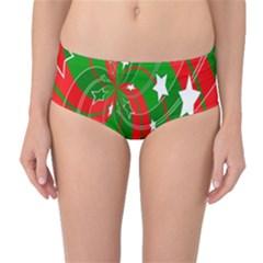Background Abstract Christmas Mid Waist Bikini Bottoms