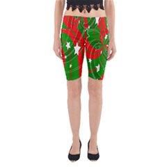 Background Abstract Christmas Yoga Cropped Leggings