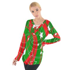 Background Abstract Christmas Women s Tie Up Tee