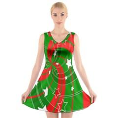 Background Abstract Christmas V Neck Sleeveless Skater Dress