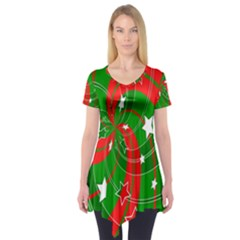 Background Abstract Christmas Short Sleeve Tunic