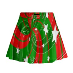 Background Abstract Christmas Mini Flare Skirt