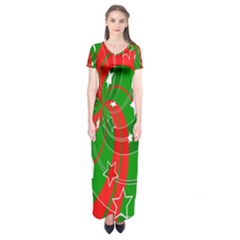 Background Abstract Christmas Short Sleeve Maxi Dress
