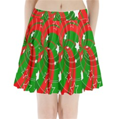 Background Abstract Christmas Pleated Mini Skirt