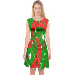 Background Abstract Christmas Capsleeve Midi Dress