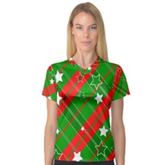 Background Abstract Christmas Women s V Neck Sport Mesh Tee
