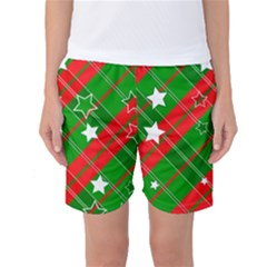Background Abstract Christmas Women s Basketball Shorts